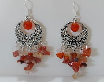 Large Carnelian Earrings, Carnelian Boho Earrings, Orange Gemstone Earrings, Statement Earrings, Summer Earrings, Carnelian Jewellery Gift