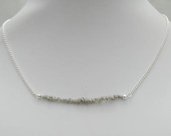 Raw diamond necklace, Natural diamond jewelry,Raw Diamond bar necklace, gemstone necklace, April Birthstone Jewelry, Raw Gemstone Necklace