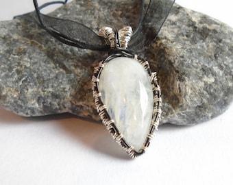 Moonstone Pendant, Rainbow Moonstone Pendant, Moonstone Cabochon Pendant Necklace, Artisan Pendant, Wire Wrapped Pendant, Moonstone Jewelry
