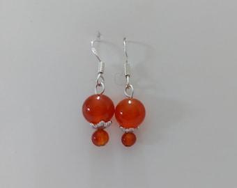 Carnelian Earrings, Sterling Silver Earrings, Dainty Orange Earrings, Carnelian Drop Earrings, Dangly Gemstone Earrings, Carnelian Jewellery