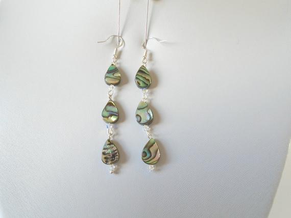 fac66acb7 Abalone Earrings Abalone Drop Earrings Abalone Dangle   Etsy