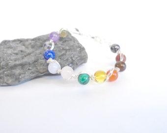 Chakra Stone Bracelet, Chakra Jewelry, Gemstone Healing Bracelet, 7 Chakra Bracelet Bangle, Rainbow Bracelet, Wire Wrapped Jewelry Gift