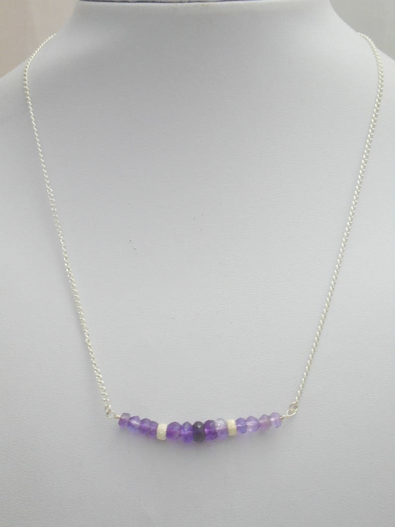 Amethyst Bar necklace Amethyst Necklace Dainty Necklace Amethyst Jewellery Sterling Silver Necklace February Birthstone Necklace