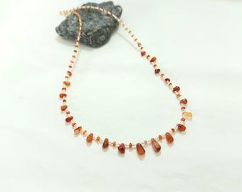 Beaded Carnelian Necklace, Orange Gemstone Necklace, Dainty Necklace, Silver Necklace, Carnelian Jewellery Gift, Carnelian Bead Necklace