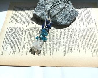 Raw Gemstone Wire Wrapped Pendant, Lapis Lazuli Pendant Necklace, Kyanite Pendant, Quartz Pendant, Gemstone Jewellery, Artisan Pendant, Gift