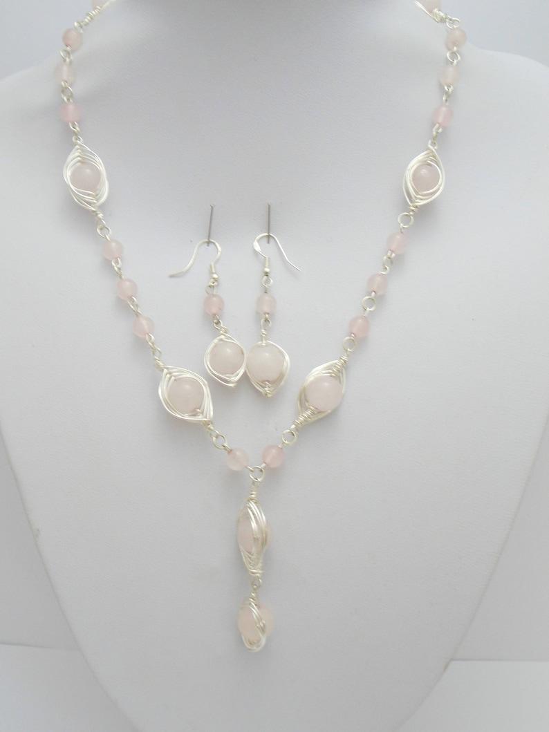 Rose Quartz Necklace Rose Quartz Jewelry Chakra jewelry Wire wrapped Jewelry Rose quartz Earrings Pink Gemstone Jewelry Gift for her