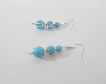 Long Turquoise Earrings, Gemstone Earrings, Beaded Earrings, Silver Earrings, Turquoise Jewelry, Dangly Earrings, Earrings for Women