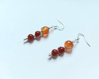 Long Carnelian Earrings, Sterling Silver Earrings, Dainty Orange Earrings, Carnelian Earrings, Dangly Gemstone Earrings, Carnelian Jewellery
