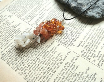 Raw Gemstone Pendant Necklace, Amber Pendant, Carnelian Pendant, Rainbow Moonstone Pendant, Wire Wrapped Pendant, Gemstone Jewellery, Gift