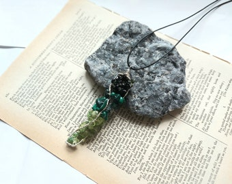 Raw Gemstone Pendant, Tourmaline Pendant, Malachite Pendant, Peridot Pendant Necklace, Artisan Pendant, Wire Wrapped Pendant, Unique Gift