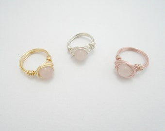 Rose Quartz Copper Ring, Rose Quartz Ring, Rose Quartz Jewelry, Pink Gemstone Boho Ring, Heart Chakra Ring, Rose Quartz Wire Wrapped Ring