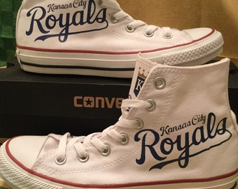 Available now!!  Size 5/7 Kansas City Royals Converse Chuck Taylor Hi-top Sneakers MLB
