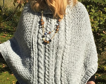 Cable Knit Instant download poncho pattern Pattern Storm Poncho Pdf Poncho Pattern