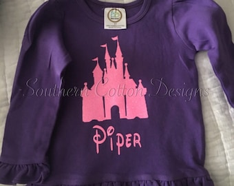 Glitter Castle Disney Vinyl Shirt with name