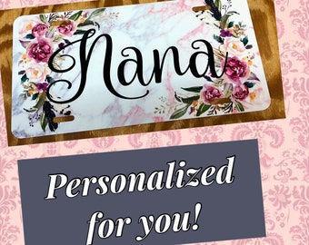 Nana license plate antlers any name wood look distressed car tag keychain frame coaster