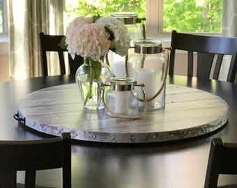 Wine Barrel Rustic Metal Banding Wood Lazy Susan Reclaimed Or Distressed  Wood (Sizes 18 24 30 32 36 38 40 44 48 Inch) Match Your Table Color
