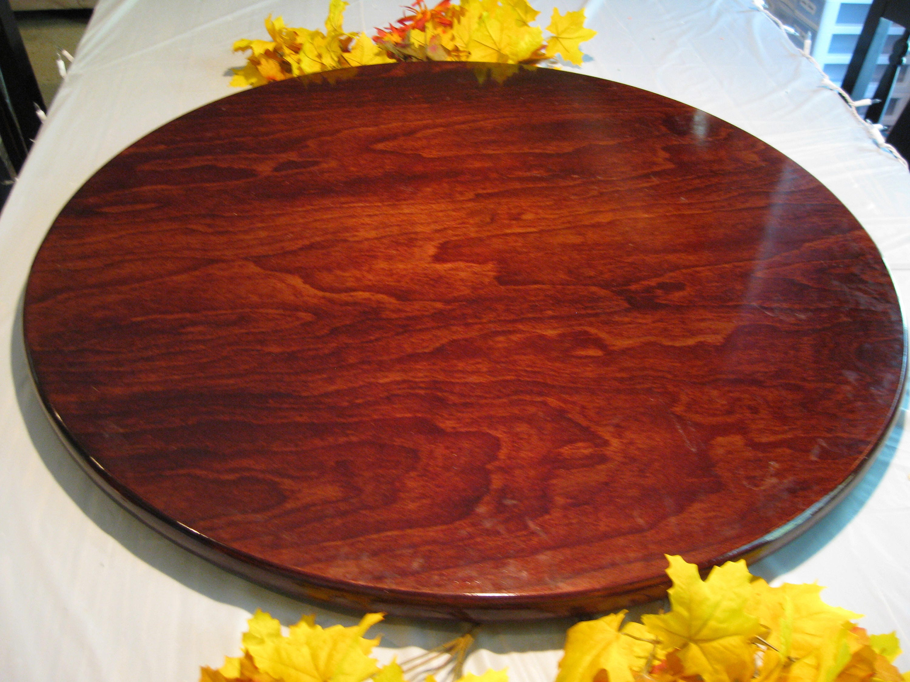 Dark Cherry Wood Lazy Susan For Dining Table up to 40 44 ...