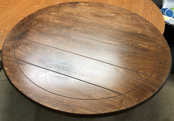 Lazy Susan smooth or  Plank Lines to match your table Stain Color Matching Sizes 18 inch to 60 inches