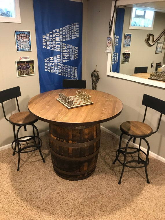 Table Top for Wine Barrel Reclaimed Rustic or Distressed Banding Top Sizes 30 32 36 38 40 44 48 Inch (TOP ONLY) Match Your Barrels Color