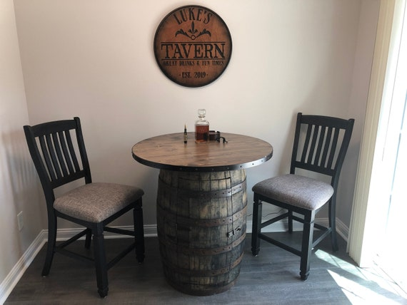 Table Top for Whiskey Barrel Reclaimed Rustic or Distressed Banding Wood Sizes 18 24 30 32 36 38 40 44 48 Inch) Match Barrel Style and Color