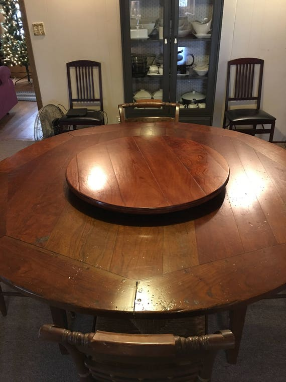 Distressed Wood Lazy Susan Turntable Any Stain Color (Sizes 18 Inch to 30 Inch, 32 Inch, 36 Inch, 40 Inch and even up to 48 Inch)