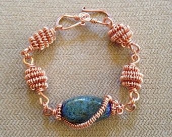 Copper Coil and Wire Wrapped Lampwork Bead Bracelet