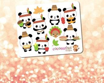 Thankgiving / Fall / Harvest / Autumn Pandas Mini Planner Sticker Sheet