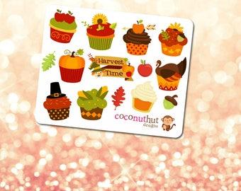 Thankgiving / Fall / Harvest / Autumn Cupcakes Theme Mini Planner Sticker Sheet