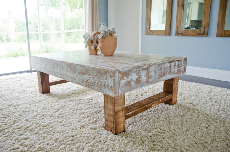 Rustic Coffee Table Farmhouse Coffee Table Whitewashed Etsy