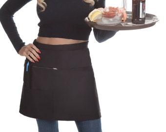 Black Short Waitress Apron • Server Uniform & Bartenders Short Length Organizing Half Apron (Made USA)