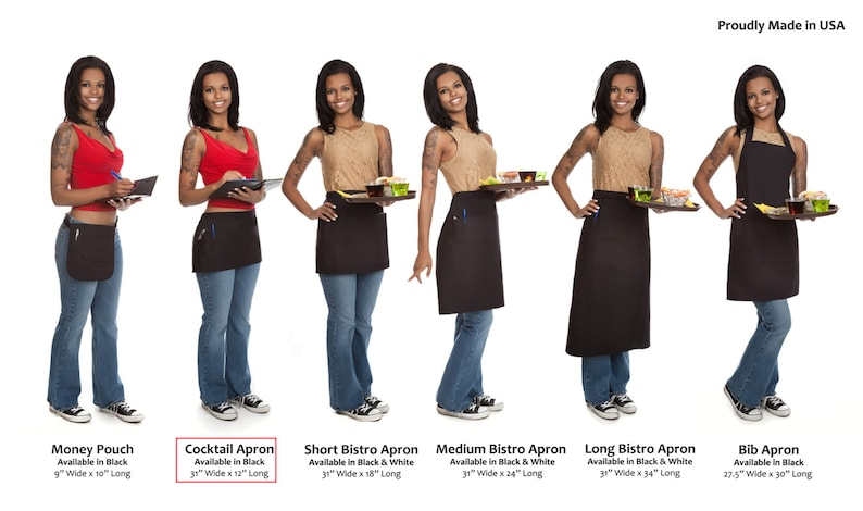 A Server/'s Dream Made In USA Quality Short Cocktail Waitress Apron with Reinforced Seams and Organizing Pockets Built to Last