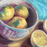 Original small oil painting on board of lemons in a bowl, One a Week, small kitchen art