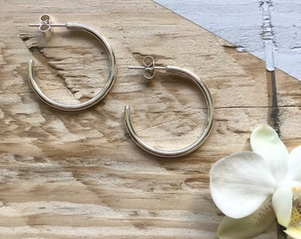 Small hoop earrings   Silver hoop earrings   Recycled silver   Recycled packaging   Ethical jewellery   Gift for her.