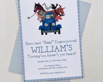 Little Blue Truck Birthday Party Invitation Boy Two Year Old