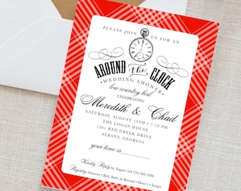 Around the Clock shower invitation, Party Invitation, wedding invitation, wedding shower invitations, custom invitations