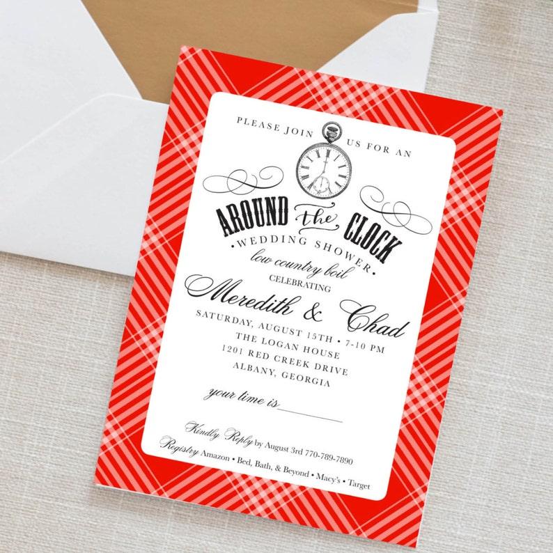 c0df7c1ae7a1 Around the Clock shower invitation Party Invitation wedding
