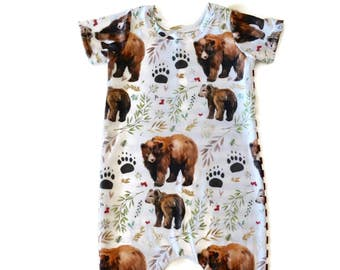 Baby Romper - Toddler Romper - Baby Shorts Romper - Toddler Shorts Romper - Bear Romper - Unique Baby Romper - Unique Toddler Romper