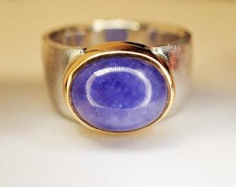 Ring silver gold tanzanite