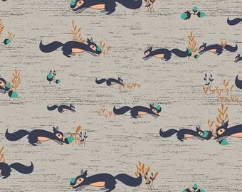 Squirrels At Play Forester Fabric, Art Gallery Fabric, Sold by 1/2 Yard Continuous Increments