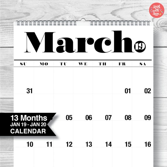 Wall Calendar Free Shipping To The Usa Canada And Australia Etsy
