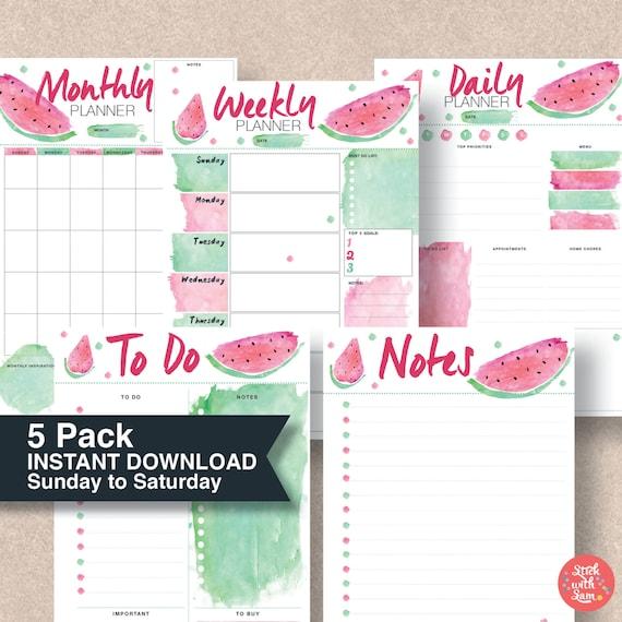 Calendario IImprimible. Planner Pack Kawaii Watermelon Sunday | Etsy