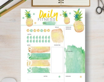FITNESS Planner. Pineapple fitness printable.  Daily fitness agenda includes sizes A4, A5, Letter & Half Letter. Fitness organizer | #617