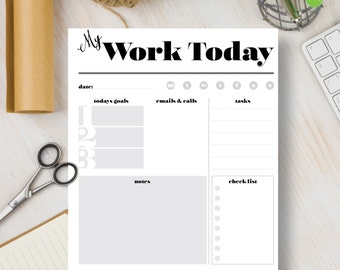 WORK TODAY Insert Planner Instant Download Printable.  Simple planner. Instant Organizer includes A4, A5, Letter & Half Letter sizes. | #528