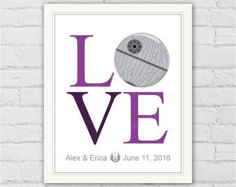Personalized Weddings Star Wars Decor. Darth Star LOVE Art Print. Fiance Gift. Star Wars Modern Home Wall Decor. Item No.: 114