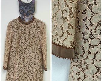 1960's Light Brown Lace Dress With Velvet Trim