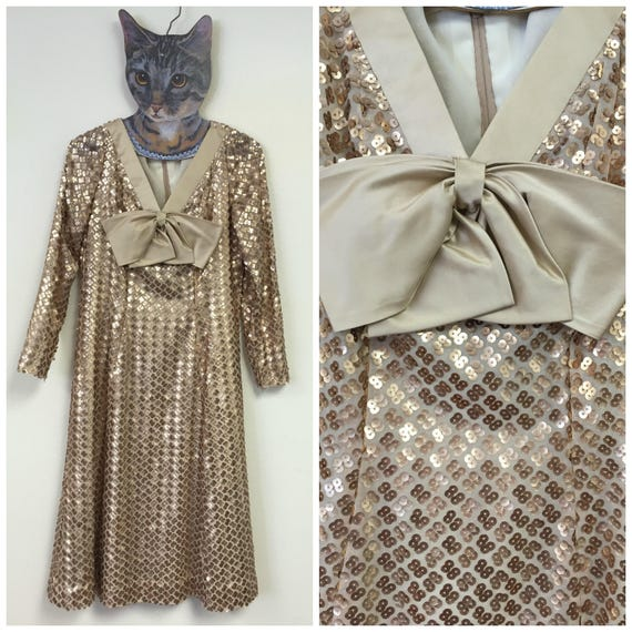 1960's Gold Sequin Cocktail Dress