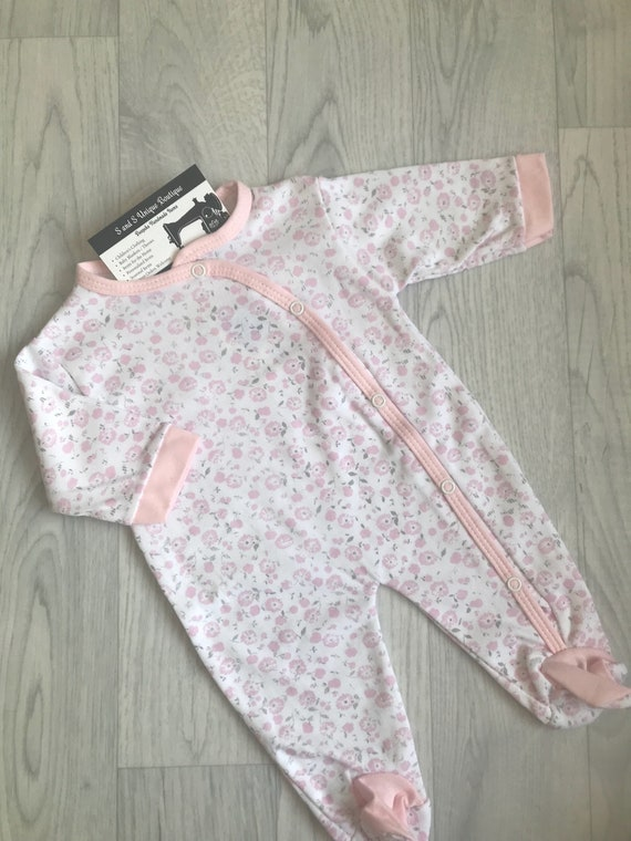 Pink Floral Bunny Pattern Baby Girls Sleepsuit Babygrow0-3 3-6 Months