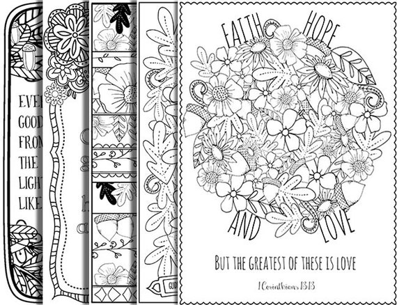 5 Bible Verse Coloring Pages Set Autumn Inspirational Quotes Etsy
