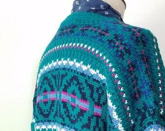 vintage nordic fair isle acrylic wool sweater cardigan