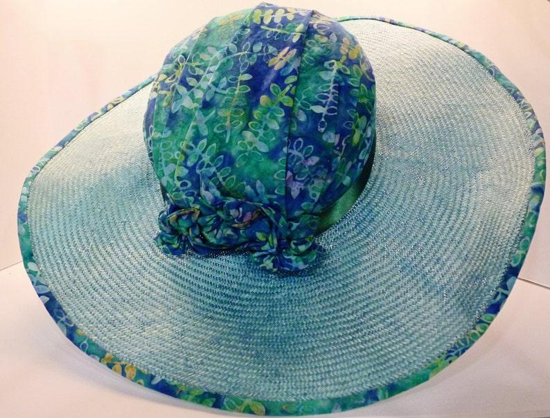 Blue Straw Hat With Cotton Batik Top, Trim and Handmade Fabric Flowers